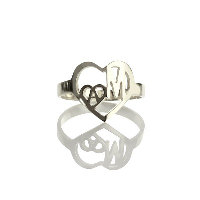 Heart in Heart Double Initials Ring Sterling Silver - Crafted By Birthstone Design™