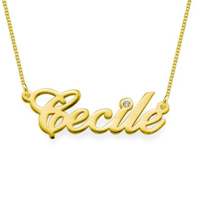 18ct Gold and Diamond Name Necklace - Crafted By Birthstone Design™