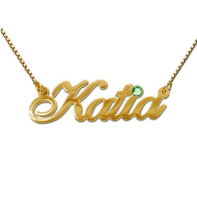 18ct Gold and Swarovski Crystal Name Pendant - Crafted By Birthstone Design™