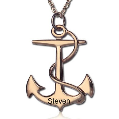Anchor Necklace Charms Engraved Your Name 18ct Rose Gold Plated Silver - Crafted By Birthstone Design™