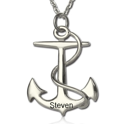 Anchor Necklace Charms Engraved Your Name Silver - Crafted By Birthstone Design™