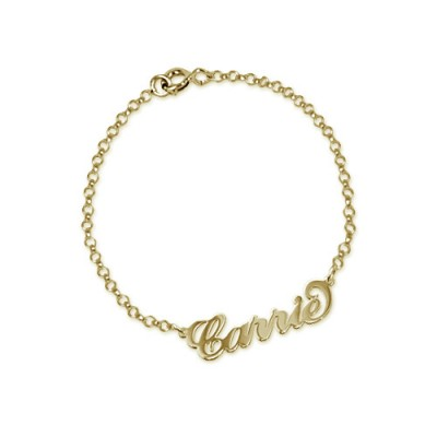 """18ct Gold-Plated Silver """"Carrie"""" Name Bracelet/Anklet - Crafted By Birthstone Design™"""