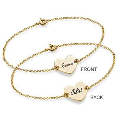 18ct Gold Plated Engraved Couples Heart Bracelet/Anklet - Crafted By Birthstone Design™