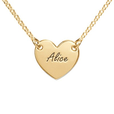 18ct Gold Plated Heart Necklace with Engraving - Crafted By Birthstone Design™