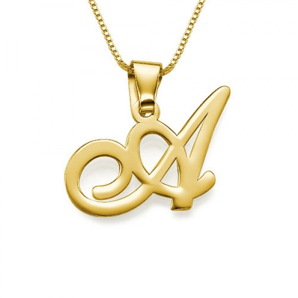 18ct Gold-Plated Initials Pendant With Any Letter - Crafted By Birthstone Design™