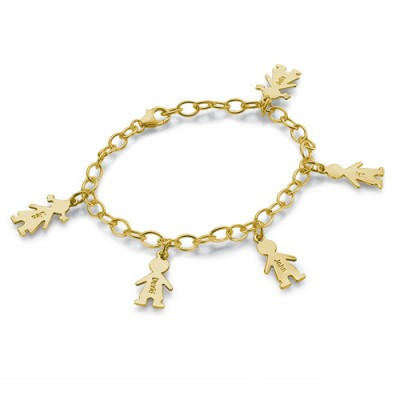 18ct Gold Plated Silver Engraved Kids Bracelet - Crafted By Birthstone Design™