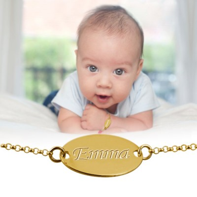 18ct Gold-Plated Silver Personalised Baby Bracelet/Anklet - Crafted By Birthstone Design™