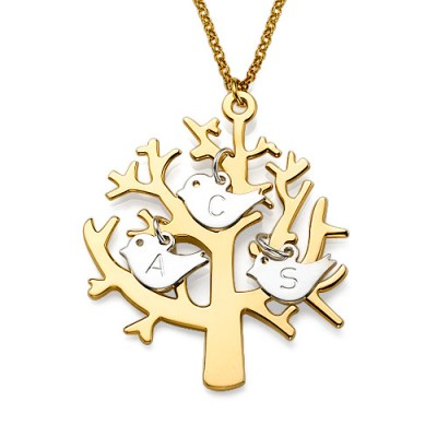 Gold Plated Tree Necklace with 0.925 Silver Initial Birds - Crafted By Birthstone Design™