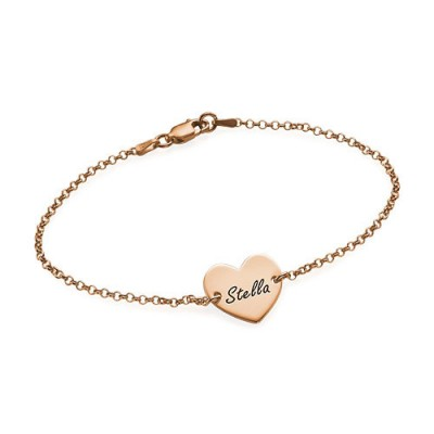 18ct Rose Gold Plated Engraved Heart Couples Bracelet/Anklet - Crafted By Birthstone Design™
