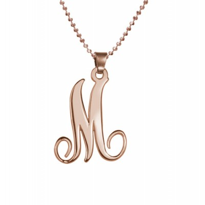 18ct Rose Gold Plated Single Initial Necklace - Crafted By Birthstone Design™