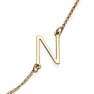 18ct Gold Plated Sideways Initial Necklace - Crafted By Birthstone Design™