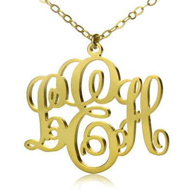 Personalised Vine Font Initial Monogram Necklace 18ct Gold Plated - Crafted By Birthstone Design™