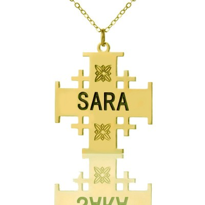 Gold Plated 925 Silver Jerusalem Cross Name Necklace - Crafted By Birthstone Design™