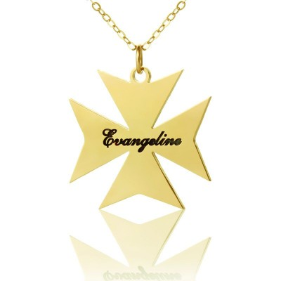 Gold Plated 925 Silver Maltese Cross Name Necklace - Crafted By Birthstone Design™