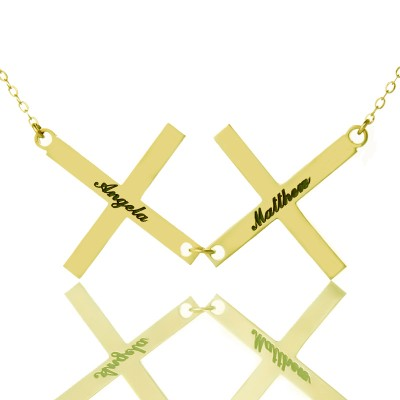 Gold Plated 925 Silver Greece Double Cross Name Necklace - Crafted By Birthstone Design™