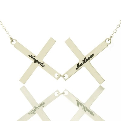 Silver Greece Double Cross Name Necklace - Crafted By Birthstone Design™