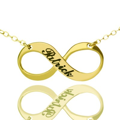 Infinity Symbol Jewellery Necklace Engraved Name 18ct Gold Plated - Crafted By Birthstone Design™
