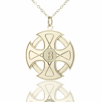 Engraved Celtic Cross Necklace Silver - Crafted By Birthstone Design™