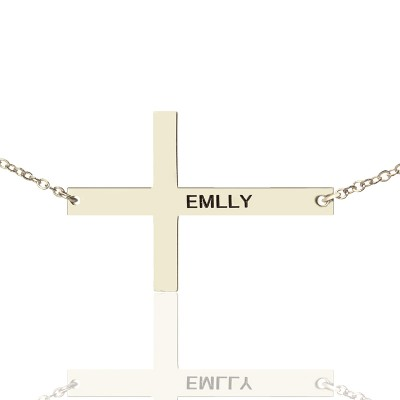 """Engraved Silver Latin Cross Name Necklace 1.6"""" - Crafted By Birthstone Design™"""