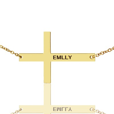 """Gold Plated Silver Latin Cross Necklace Engraved Name 1.6"""" - Crafted By Birthstone Design™"""