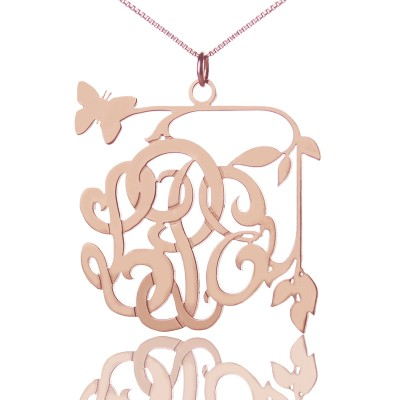 Butterfly and Vines Monogrammed Necklace 18ct Rose Gold Plated - Crafted By Birthstone Design™