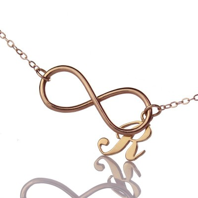 Rose Gold Plated Infinity Initial Necklace - Crafted By Birthstone Design™
