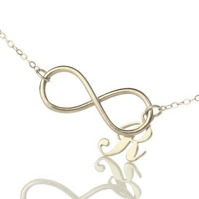 Infinity Necklaces with Initial Letter Charm Silver - Crafted By Birthstone Design™