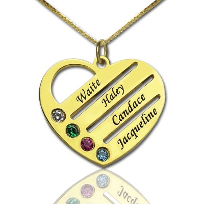 18ct Gold Plated Mothers Birthstone Heart Necklace Engraved Names  - Crafted By Birthstone Design™
