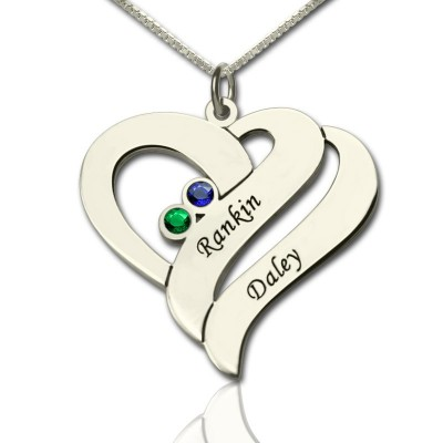 Two Hearts Forever One Necklace Sterling Silver - Crafted By Birthstone Design™