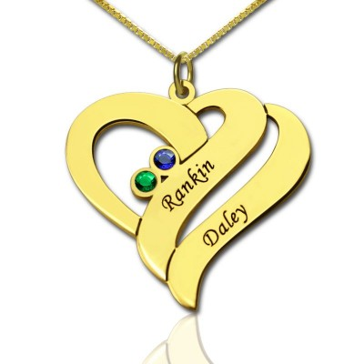 Two Hearts Forever One Love Necklace 18ct Gold Plated - Crafted By Birthstone Design™