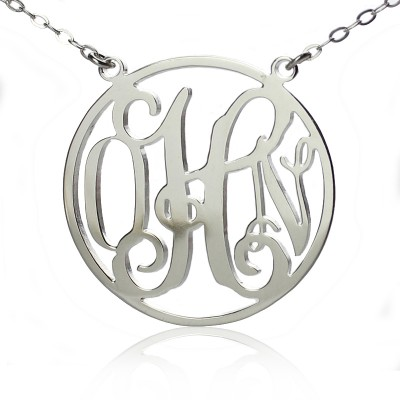 Circle 18ct Solid White Gold Initial Monogram Name Necklace - Crafted By Birthstone Design™