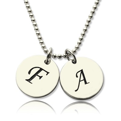 Personalised Initial Discs Necklace Silver - Crafted By Birthstone Design™