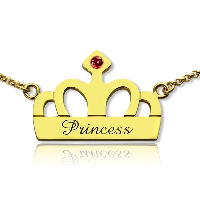 Princess Crown Charm Necklace with Birthstone  Name 18ct Gold Plated  - Crafted By Birthstone Design™
