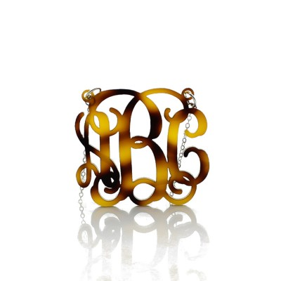 Tortoise Acrylic Monogram Necklace - Crafted By Birthstone Design™
