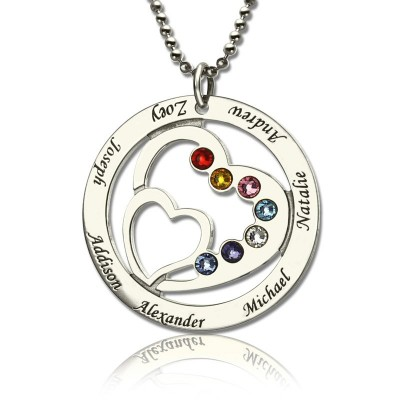 Personalised Heart in Heart Birthstone Name Necklace Silver  - Crafted By Birthstone Design™