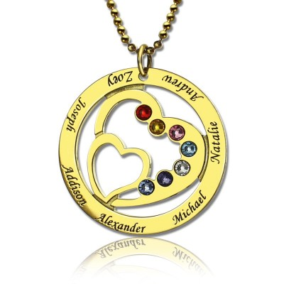 Heart in Heart Birthstone Name Necklace 18ct Gold Plated  - Crafted By Birthstone Design™