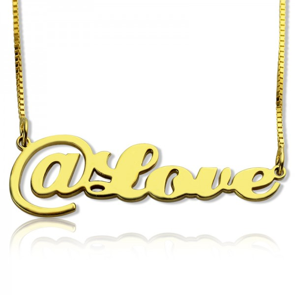 Twitter At Symbol Name Necklace 18ct Gold Plated - Crafted By Birthstone Design™