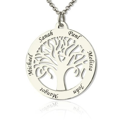Tree Of Life Necklace Engraved Names in Silver - Crafted By Birthstone Design™