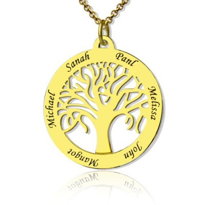 Tree of Life Jewellery Family Name Necklace in 18ct Gold Plated - Crafted By Birthstone Design™