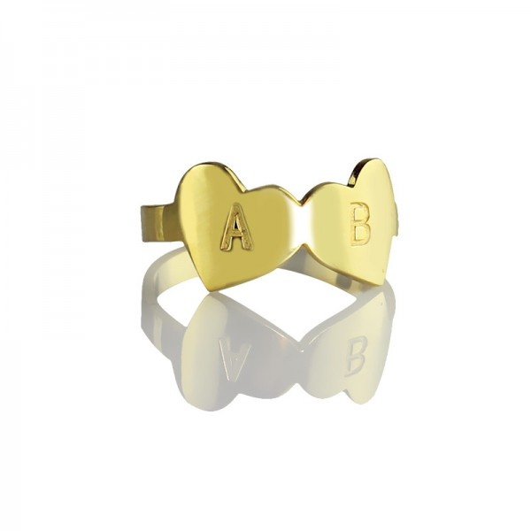 Custom Double Heart Ring Engraved Letter 18ct Gold Plated - Crafted By Birthstone Design™