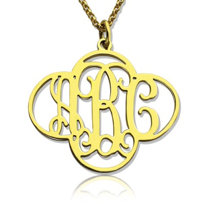 Personalised Cut Out Clover Monogram Necklace 18ct Gold Plated - Crafted By Birthstone Design™