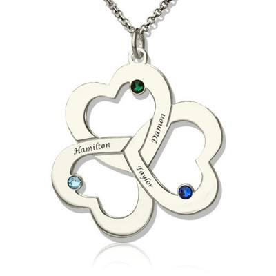 Personalised Three Triple Heart Shamrocks Necklace with Name - Crafted By Birthstone Design™