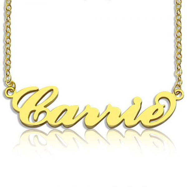 Personalised Carrie Name Necklace 18ct Gold Plated - Crafted By Birthstone Design™