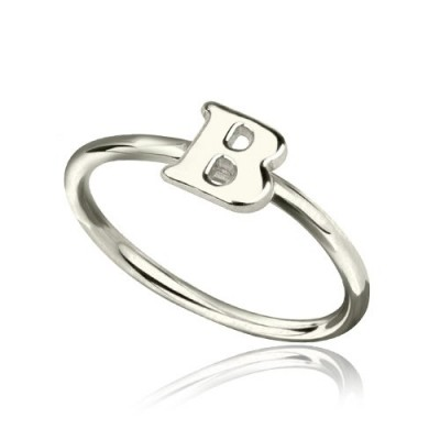 Personalised Women's Midi Initial Ring Sterling Silver - Crafted By Birthstone Design™