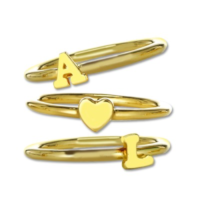 Stackable Initial Ring 18ct Gold Plated - Crafted By Birthstone Design™