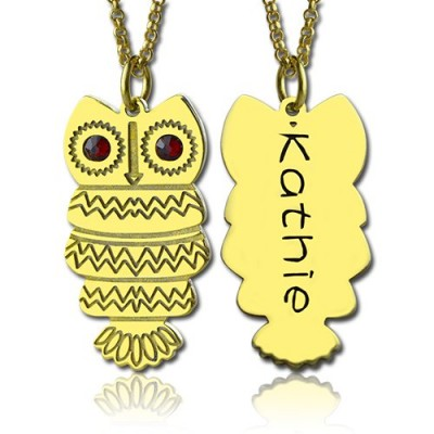 Cute Birthstone Owl Name Necklace 18ct Gold Plated  - Crafted By Birthstone Design™