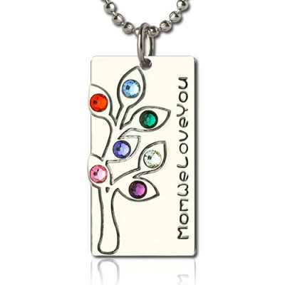 Birthstone Mother Family Tree Necklace Gifts Sterling Silver  - Crafted By Birthstone Design™