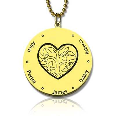 Heart Family Tree Necklace in 18ct Gold Plating - Crafted By Birthstone Design™