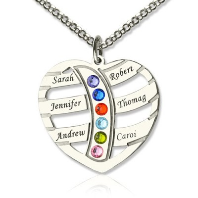 Moms Necklace With Kids Name  Birthstone In Sterling Silver  - Crafted By Birthstone Design™