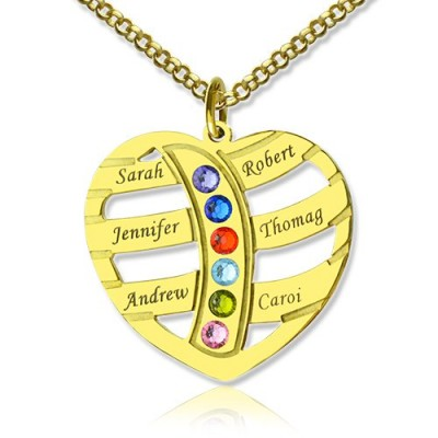 Mothers Necklace With Children Names  Birthstones 18ct Gold Plated  - Crafted By Birthstone Design™